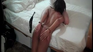 Submissive woman handcuffed and dominated by younger guy (please comment)